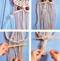 ARTESANIAS CHACO / MACRAME: Simpático Búho de Macrame Diy And Crafts, Arts And Crafts, Macrame Owl, Macrame Plant Holder, Wool Thread, Mini Craft, Macrame Projects, Macrame Tutorial, Craft Fairs