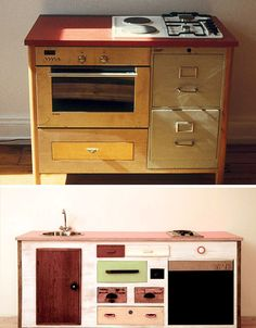 Old Wood Drawers Set in New Kitchen Modules - Love the filing cabinet drawers!