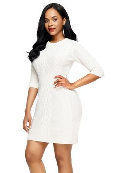 9e86ed0b0fc Tunic Tops. Cable KnitTunic Tops. White Cable Knit Fitted 3 4 Sleeve  Sweater Dress