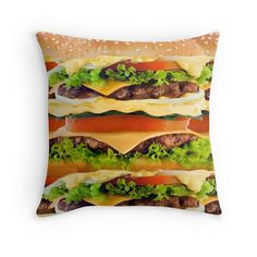 Burger Me! Throw Pillow - Available Here: http://www.redbubble.com/people/rapplatt/works/12600050-burger-me?p=throw-pillow