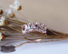 Oval Pink Morganite Ring Solid 14K Rose Gold by JulianStudio