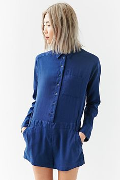 Silence + Noise Grae Button-Down Romper - Urban Outfitters