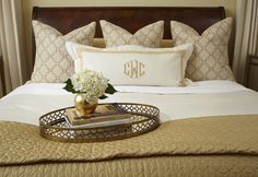 Love the neutral bedding and monogram , you can buy these pillows and get these  monogramed by most seamstress , check the dry  cleaners or ask someone who works at Jo Ann fabrics who could do that for you if you couldn't do it yourself .