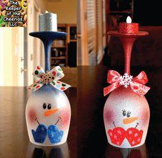 Sneeuwpop wijnglas serviesje Kies 1 van TheKeeperofCheerios op Etsy