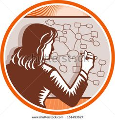 Illustration of a female presenter office worker businessman teacher writing presenting making presentation writing on white board with complex diagrams and mind maps done in retro woodcut style. - stock vector #businesswoman #woodcut #illustration
