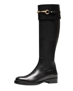 Gucci Jamie Flat Riding Boot, Black - Bergdorf Goodman