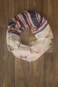 Navy and red anchors entwined in opposite colored rope!  Navy, red and white stripes! Wear with stripes showing or behind your neck!  Shop: https://www.shoppinwithsailin.com/collections/scarves/products/navy-red-anchors-stripes-infinity-scarf?utm_content=bufferae62e&utm_medium=social&utm_source=pinterest.com&utm_campaign=buffer  100% Polyester FREE SHIPPING!!!
