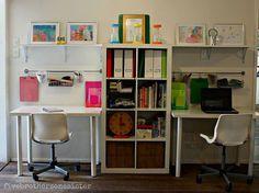 Best kids playroom organization ikea homework station ideas - Image 6 of 24 Kids Homework Room, Kids Homework Station, Kid Desk, Boys Desk, Kids Study Spaces, Study Areas, Work Spaces, Kid Spaces, Kids Workspace
