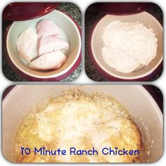 10 Minute Ranch Chicken in the Round Covered Baker from Pampered Chef: 2 Chicken Breast - Mix 1/2 Cup Ranch, 1/2 Cup Italian Breadcrumbs, 2 Tbsp Mayo.  Cover Chicken with Mixture and Replace Lid.  Cook in Microwave for 10 minutes.  Serve and Enjoy a Fast and Fresh Meal!  Who Needs Processed Foods?  Message me to ask how you can earn this awesome product free without ever having to host a traditional Pampered Chef party!