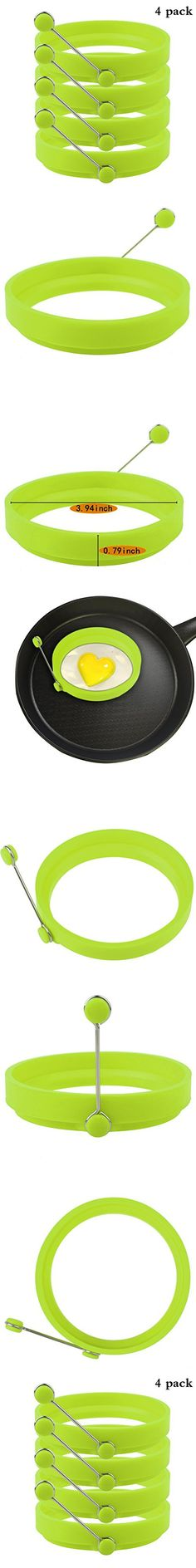 Robot Bee 4 Pack Non-stick Silicone Egg Ring, Kitchen Cooking Round Egg Pancake Rings Mold BPA Free-Green
