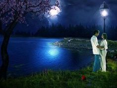 moonlight on the lake Look At The Moon, Over The Moon, Stars And Moon, Moon Pictures, Art Pictures, Romantic Pictures, Beautiful Pictures, Magic In The Moonlight, Still Of The Night