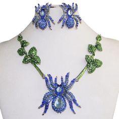 Black-Widow-Spider-Necklace-Earring-Set-Blue-Swarovski-Crystal-Halloween-Partty