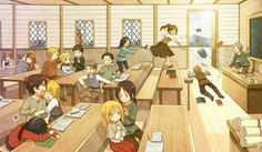 Attack on Titan characters, cute, young, childhood, school; Attack on Titan