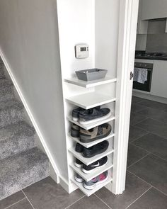 Shoe Storage Our house has a really small entryway meaning theres not much room for things like shoe. ideas small stairs Shoe Storage Our house has a really small entryway meaning theres not much room for things like shoe…
