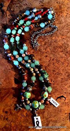 3 X azules chevron perlas//Beads