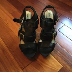 """NWT black sexy platform heels sz 9  NWT size 9 sexy black Mossimo style """"Pavan"""" platform buckle sandal heels. Gorgeous! Just too big for me! Been sitting in my closet. Mossimo Supply Co Shoes Heels"""