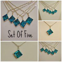 Set of 5 Bridesmaid Necklaces Swarovski Blue by WeddingChateau