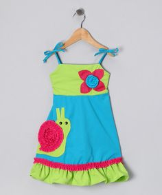 Take a look at this Green & Blue Snail Dress - Infant by Yarop on #zulily today!
