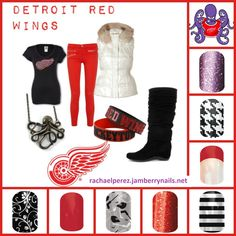 Detroit Red Wings Jamberry Nails. Buy 3 sheets get one FREE!!! rachaelperez.jamberrynails.net
