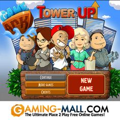 Play #TowerUp via #GamingMall http://www.gaming-mall.com/adventure/tower-up/ Tower Up!Build your tower to the skies and make money with help of your citizens. There are 2 types of floors in the game: residential (where your citizens live) and commercial (where they work at). When a residential floor is built, you can lift up a new tenant there. Then you may employ him at a commercial floor where he'll be able to produce various goods.