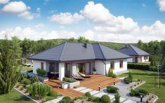 Projekt domu TK 133 (TYR-231) - 119.71m² Modern Bungalow House, Bungalow House Plans, Modern House Plans, House Floor Plans, Village House Design, Village Houses, Beautiful House Plans, Beautiful Homes, Minimal House Design