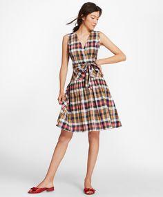 Madras Cotton Faux Wrap Dress - Brooks Brothers