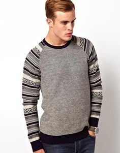 Image 1 of River Island Jumper with Fairisle Sleeves