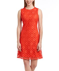 Look what I found on #zulily! Sharagano Hot Coral Pointelle Overlay Zipper-Back Sheath Dress by Sharagano #zulilyfinds