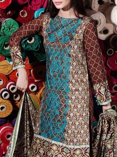 Buy Dark Brown Printed Viscose Linen Dress by Nishat 2015.