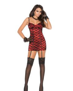 $27.55-$31.75 Satin chemise with lace overlay, ribbon trim, underwire cups, adjustable straps and garters.