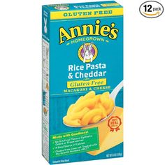 Annie's Gluten Free Macaroni and Cheese, Rice Pasta & Cheddar Mac and Cheese, 6 oz Box (Pack of 12)  Price: 25,64 $  https://www.amazon.com/gp/product/B000CQ01NS/ref=as_li_qf_sp_asin_il_tl?ie=UTF8&tag=bestselle0b0f-20&camp=1789&creative=9325&linkCode=as2&creativeASIN=B000CQ01NS&linkId=7f2263a5e5be3e5767fff7bd1437ebb9