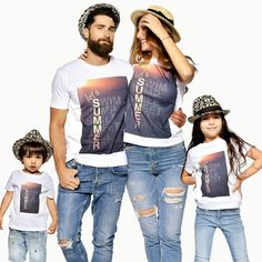 Matching Family T-shirts, Matching Family Outfit, Matching Tees, Graphic Tees, Summer Shirts, Dad Matching, Family Shirts, Summer Family Matching Family T Shirts, Matching Outfits, Matching Clothes, Matching Couples, Summer Denim, Summer Shirts, Summer Family Photos, Family Pics, Fall Family
