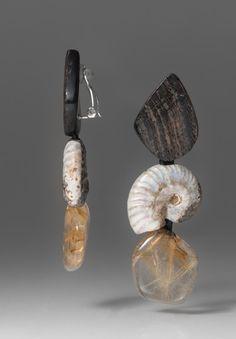 Monies UNIQUE Citrine, Horn & Ammonite Clip Ons