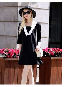 2016 Summer Half Sleeve Shift Dress Sailor Collar Plus Size XL-5XL