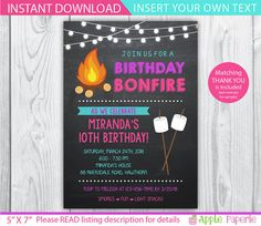 camp invitation / bonfire invitation / bonfire party invitations / smores invitation / bonfire birthday invitations / INSTANT DOWNLOAD by ApplePaperie