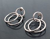 Sterling Silver double hoop earrings - hand crafted in UK - limited edition