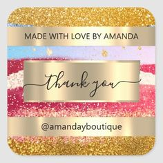 Thank You Shopping Custom Glitter Gold Tssqquare Square Sticker Anniversary Party Favors, Wedding Anniversary, Square, Bridal Shower Favors, Love Is Sweet, Business Supplies, Custom Stickers, Gold Glitter, Keep It Cleaner