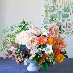 Rose, hydrangea, japanese anemone, longan (the brown tropical fruit on the left), coleus, maidenhair, foxglove, coral bells