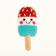 Crochet cotton friendly ice lolly baby rattle with red, white and blue stripes. Handmade first play food toy for children to help develop imaginative play. Red White Blue Popsicle, Red And White, Red Black, Cute Little Baby, Little Babies, Baby Rattle, Imaginative Play, Cute Designs, Baby Knitting