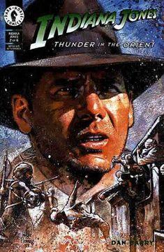 Indiana Jones, Thunder in the Orient. Cover by Hugh Fleming. Indiana Jones Books, Comic Book Covers, Comic Books, Henry Jones Jr, Sky Brown, Joker Comic, Best Horror Movies, Star Wars, Movie Poster Art