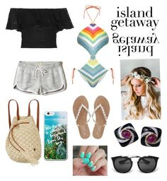 """""""Island Getaway"""" by alison3278 ❤ liked on Polyvore featuring Mara Hoffman, Philosophy di Lorenzo Serafini, Emily Rose Flower Crowns, Hollister Co., M&Co, Billabong, Prada and SoGloss"""