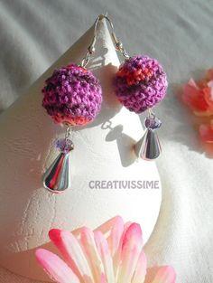Orecchini a pallina all'uncinetto  viola arancione di CREATIVISSIME su DaWanda.com