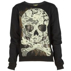 Black Lace Skull Print Sweatshirt ❤ liked on Polyvore featuring tops, hoodies, sweatshirts, shirts, sweaters, skull top, lace sweatshirt, skull print shirt, skull sweatshirt and lacy shirts