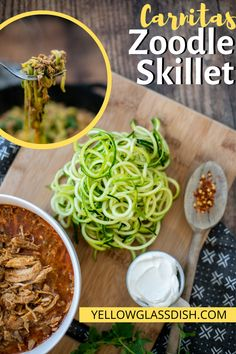 Easy zoodle skillet with zucchini noodles and carnitas - Healthy family dinner recipe that is low carb and keto-friendly. THM-S Zoodle Recipes, Pork Recipes, Lunch Recipes, Healthy Dinner Recipes, Real Food Recipes, Pork Recipe Low Carb, Low Carb Zucchini Recipes, Low Carb Recipes