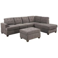 Tufted Sofa Sale off for Bobkona Austin Reversible Sectional with Ottoman Sofa Set Charcoal Features microfiber waffle suede upholstery