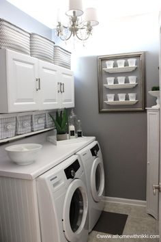 I love this laundry room. Athomewithnikki has the best organizational tips and tricks. She even tells you where to find what she uses!