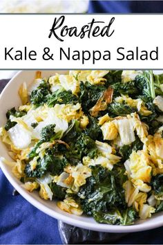 This roasted kale and napa cabbage recipe is a light and healthy side to chicken or fish with the roasted kale adding a little crispiness to this dish! Kale And Cabbage Recipe, Napa Cabbage Recipes, Napa Cabbage Salad, Kale Recipes, Healthy Salad Recipes, Whole Food Recipes, Vegetarian Recipes, Healthy Side Dishes, Side Dishes Easy