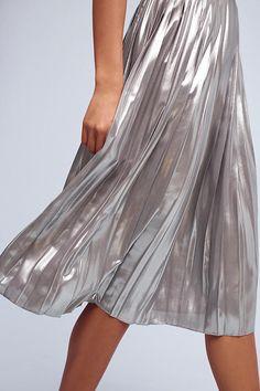 Slide View: 4: Levina Pleated Midi Skirt, Silver