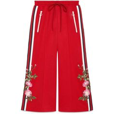 Gucci Embroidered Wide-Leg Jogging Pant (102,495 INR) ❤ liked on Polyvore featuring pants, bottoms, gucci, sweatpants, pants & shorts, ready-to-wear, women, red wide leg pants, gucci pants and red crop pants