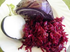 Kiszona kapusta czerwona z czarna rzepa Cabbage, Vegetables, Food, Meal, Eten, Vegetable Recipes, Meals, Collard Greens, Veggies